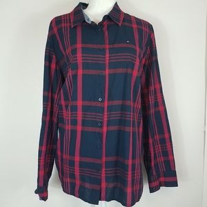 Tommy Hilfiger red navy plaid button down size XXL